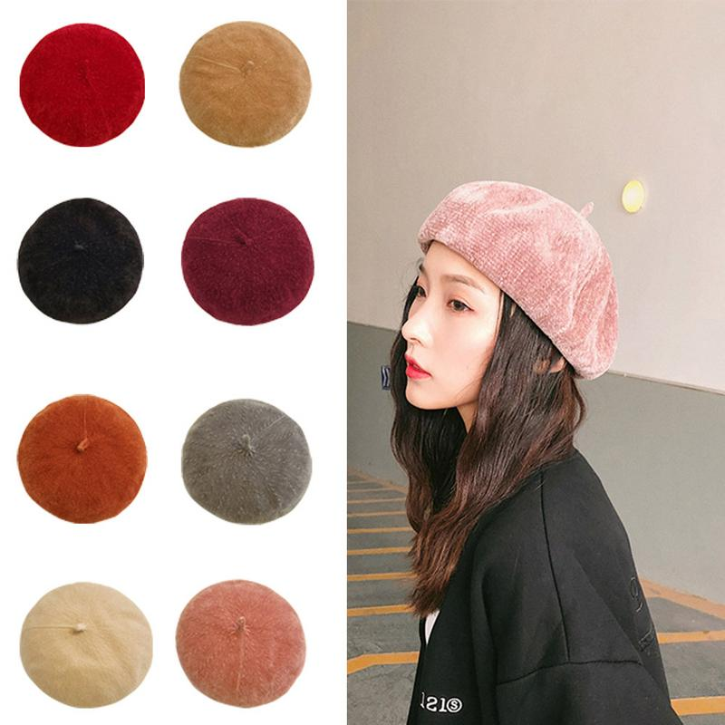 6a4c3cc97a01b Detail Feedback Questions about 9 Colors Adjustable Retro Brimless Hat Women  Corduroy Beret Solid Color Casual Female Clothes Accessories For Autumn And  ...