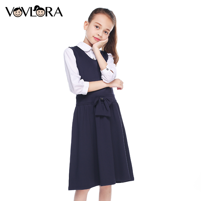 Kids School Dress V Neck A Line Sleeveless Girls Dress Solid Knitted Bow Children Clothes Casual 2018 Size 7 8 9 10 11 12 Years white casual round neck ruffled dress