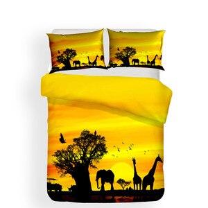 Image 2 - طقم سرير 3D لحاف مطبوع غطاء طقم سرير الزرافة الحيوان المنسوجات المنزلية للبالغين نابض بالحياة أغطية مع المخدة # CJL16