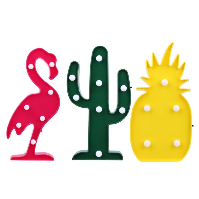 Cactus Table Lamp New Year Pineapple Lantern Flamingo Cartoon LED Night Light
