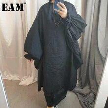 [EAM] 2020 Frühling Sommer Frau Stilvolle Neue Lila Schwarz Farbe Lange Puff Sleeve Stehkragen Lange Lose Große größe Kleid LG03