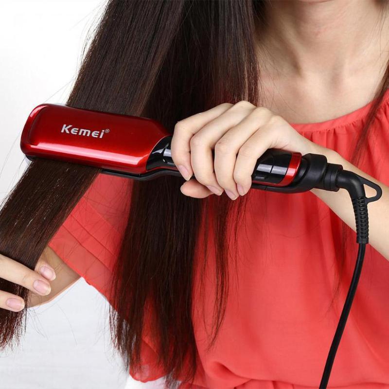Kemei LCD Display Flat Iron Digital Temperature Control Straightening Irons Ceramic Hair Straightener 120-230 Degree Ajustable