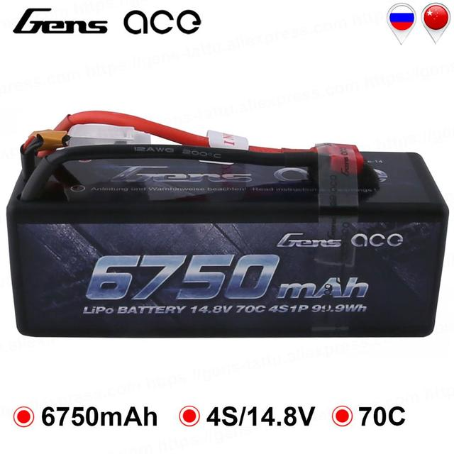 Gens ace 4S 6750mAh Lipo 14.8V Battery Pack 70C XT90 T Plug for Traxxas X-maxx 1/8 Car Lipo Batteria Quad Drone Boat