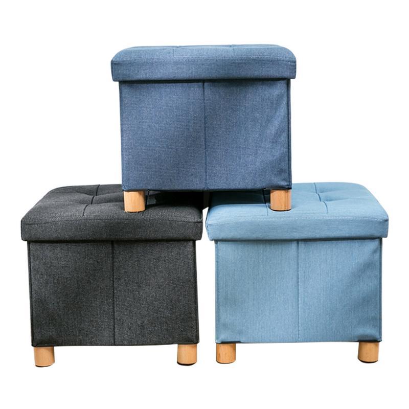 Boîte de rangement de jouet en bois solide de tissu de Denim avec la couverture quatre repose-pieds imperméable et anti-mites bonne capacité portante Durable