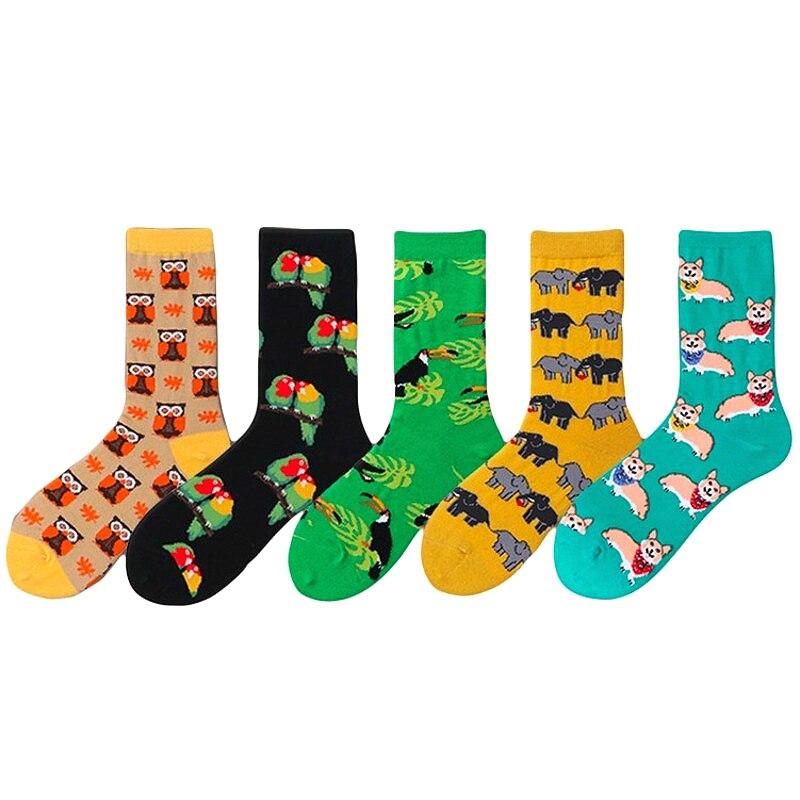 Cute Animals Printing Pattern Socks Women Funny Art Korean Colorful Cartoon Parrot Dogs Owl Socks Kawaii Sokken Calcetines
