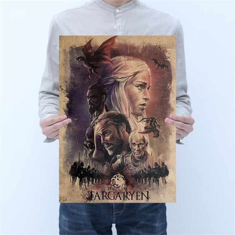 Vintage Classic Game of Thrones Poster Room Decoration Stickers Wall Decor Painting Kraft Paper Home Decor Wall Sticker