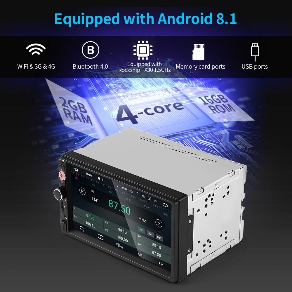 2GB Android 8.1 Car Multimedia Player 4G WiFi GPS Navigation Car DVD Auto Radio Stereo Audio Bluetooth USB Video Mirror Link Cam