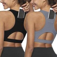 Women Workout Tank Top Gym Stretch Phone Pocket Hollow Yoga Sports Running Bra P