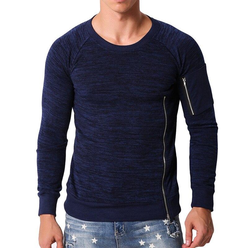NEW 2018 Mens TShirt Long Sleeve Knitted Tops Autumn Man Plain Zipper Joggers Slim Fitness T Shirt Muscle Tee Mens Clothing