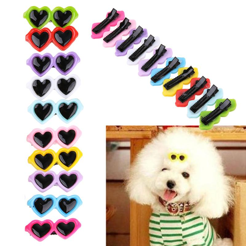 10pcs/set Plastic Pet Sunglasses Hairpin Dog Hair Clip Pets Head Flower Headdress Cat Eye-wear Pet Sunglasses For Pet Dog