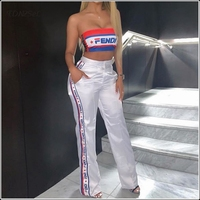 White Crop Tops Flare Pants 2 Two Piece Sets Summer Women Tracksuits Strapless Tube Tops High Waist Wide Leg Trousers Casual Set