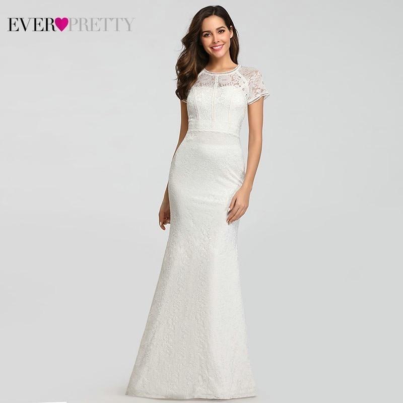 Elegant Lace Evening Dresses Long Ever Pretty O-Neck Mermaid Short Sleeve Formal Dresses For Party Vestidos De Fiesta De Noche