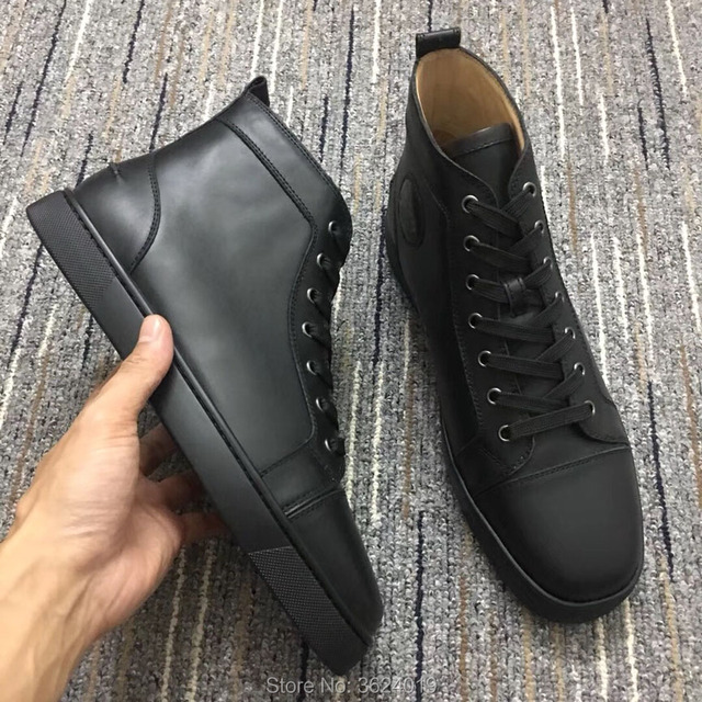 cl andgz Black Lace up No rivets Red bottom shoes High cut shoes for men  Sneakers Leather Loafers for Man Flat 2018 Footwear 1d72cf21e8ce