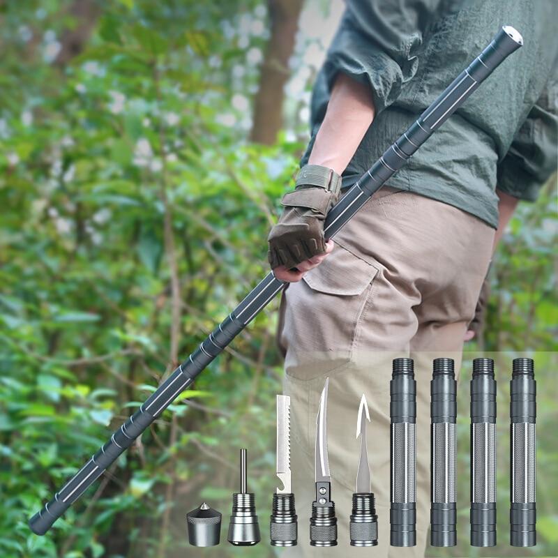 ANTARCTICA Outdoor Sports Aluminum Walking Sticks Trekking Hiking Poles Ultralight Walking Canes Self-Defense Stick  Multi Tools