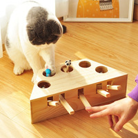 Wood Cat Hit Gophers toys Interactive Catch Mouse Game Machine Tease Cat Toys Pet Interactive Supplies Cat punch Scratcher CW213