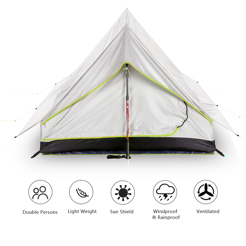 Lixada 2 Person Oudoor Ultralight Camping Tent 3 Season Professional Anti UV Tents Double Door Camping Tent for Hiking Thru-Hike