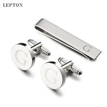Hot Sale Round Letters G Cufflinks for Mens Silver Color Letters G of alphabet Cuff links & Tie Clip Set Men Shirt Cuffs Button