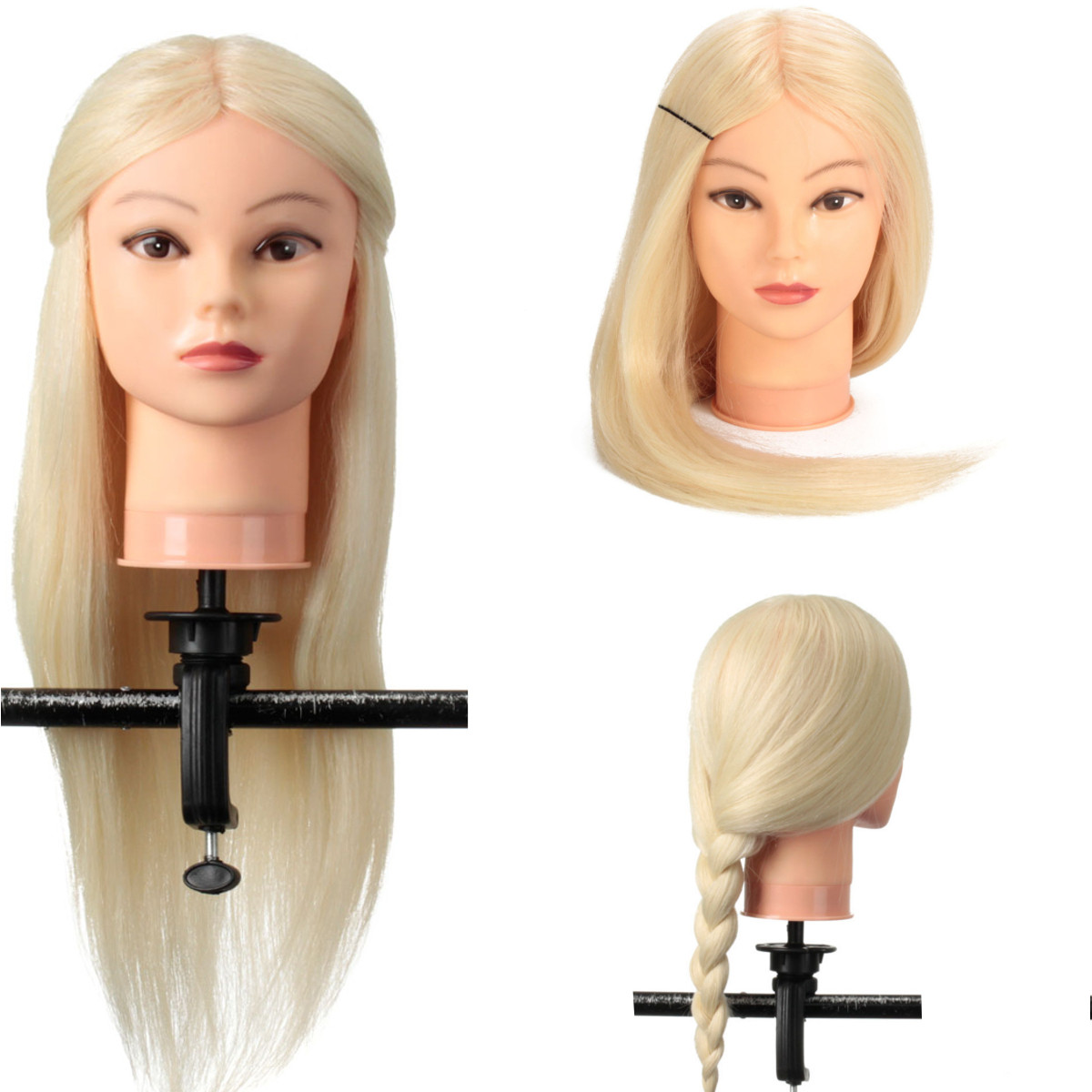 24 Inch 90% Real Human Hair Blonde Straight Hair Training Head Hairdressing Practice Training Mannequin Hair Model Doll Head New