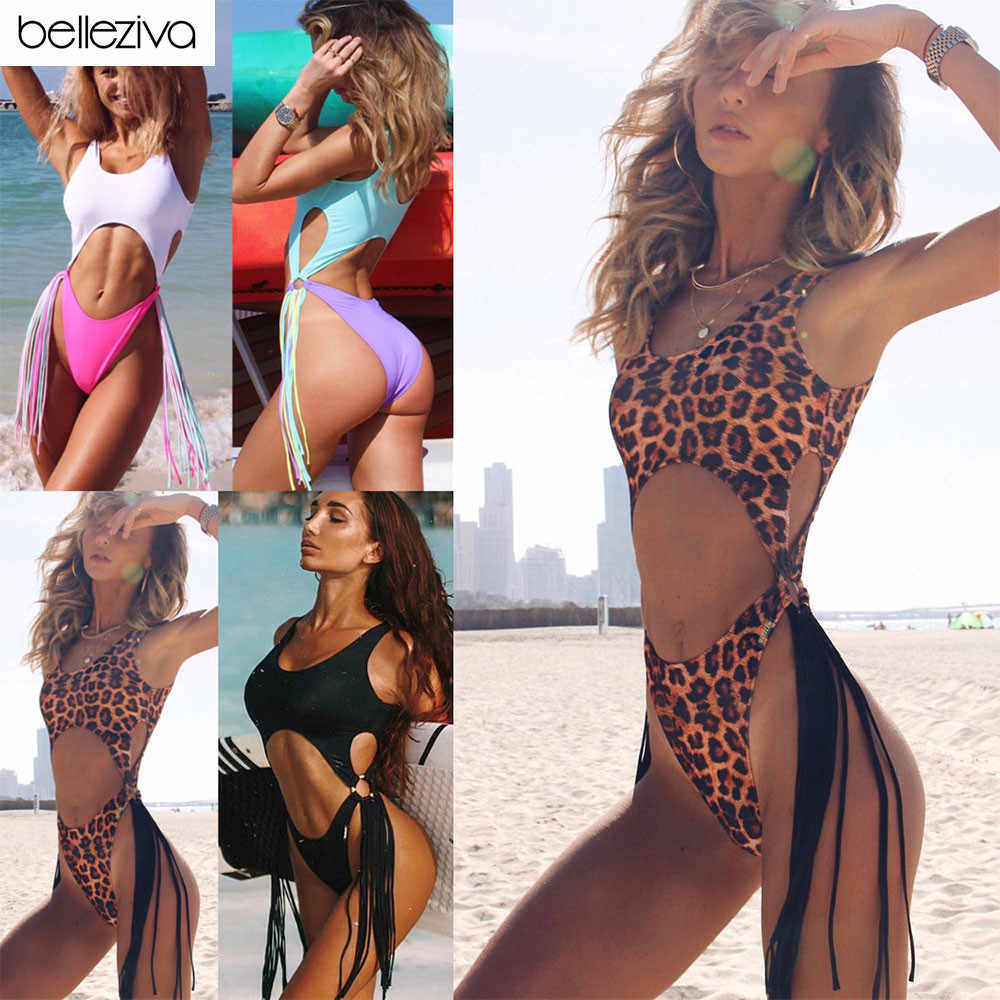 Belleziva Sexy Tassel One Piece Swimsuit Hollow Out Thong High Cut Swimwear Female Beach Brazilian Bathing Suit Female Monokinis