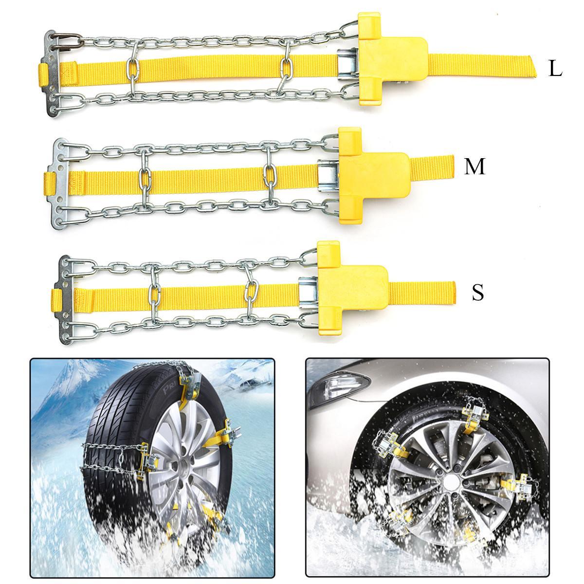 Araba Oto kaymaz kar zincirleri Manganez Çelik Araba Lastiği Kemer Kar Çamur Kum Lastik Clip-on Zinciri buz/Kar/Çamur Yollar S/M