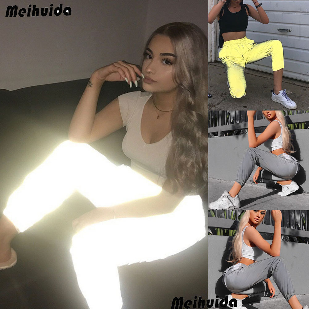 Hirigin Brand Hot Sweatpant For Women 2018 New Reflective Pants Hip Hop Dance Show Party Night Jogger Baggy Trousers