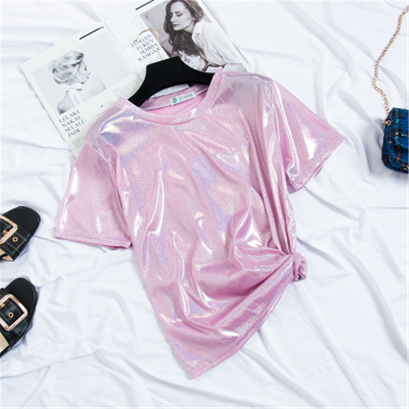 2019 Women Tshirts Summer High Street Twinkle O-Neck Fashion Casual Tops Solid High Quality Lady Clothing