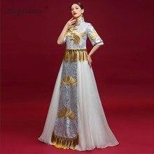 цена Chinese Traditional Wedding Cheongsam Elegant Long Satin Dress Women Qipao Vestido Oriental Style Dresses China Costume Vintage в интернет-магазинах