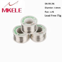 цена на Lead Free Solder Wire Tin 0.8mm 75g Rosin Core Roll Flux Reel Melt Soldering enamelled reel solder tin lead soldering wire
