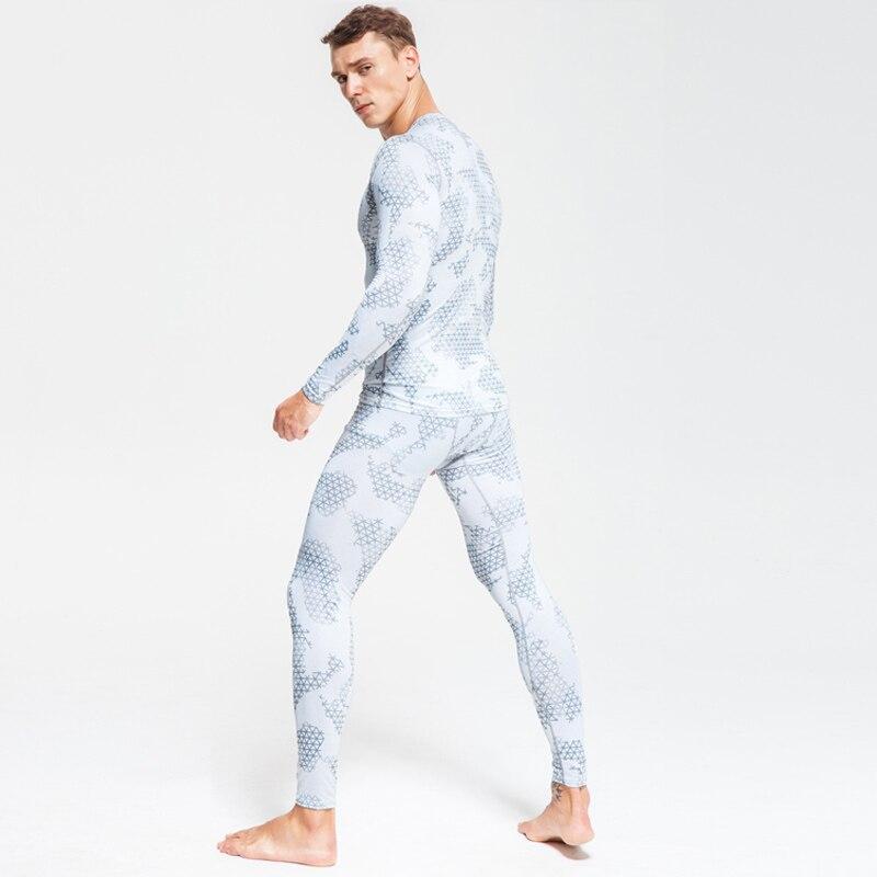 Камуфляжный комплект для фитнеса, Мужская зимняя теплая футболка для бега + штаны, компрессионное эластичное нижнее белье MMA, горячая Распро...