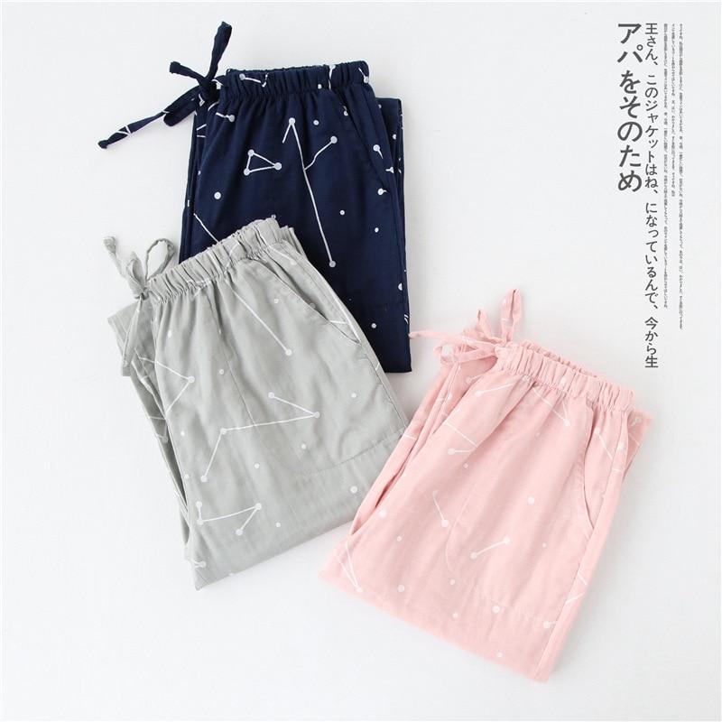 Autumn Couple Pajamas Cotton Gauze Home Trousers Thin Casual Home Pants Plus Size Elastic Waist Sleep Pants Sleep Wear For Women