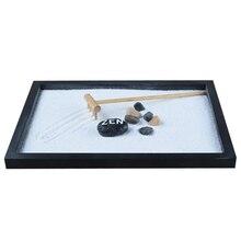 Японский каресансуй мини дзен стол сад с погремушкой галька и песок украшения дома офиса-21,5x17x2,6 см