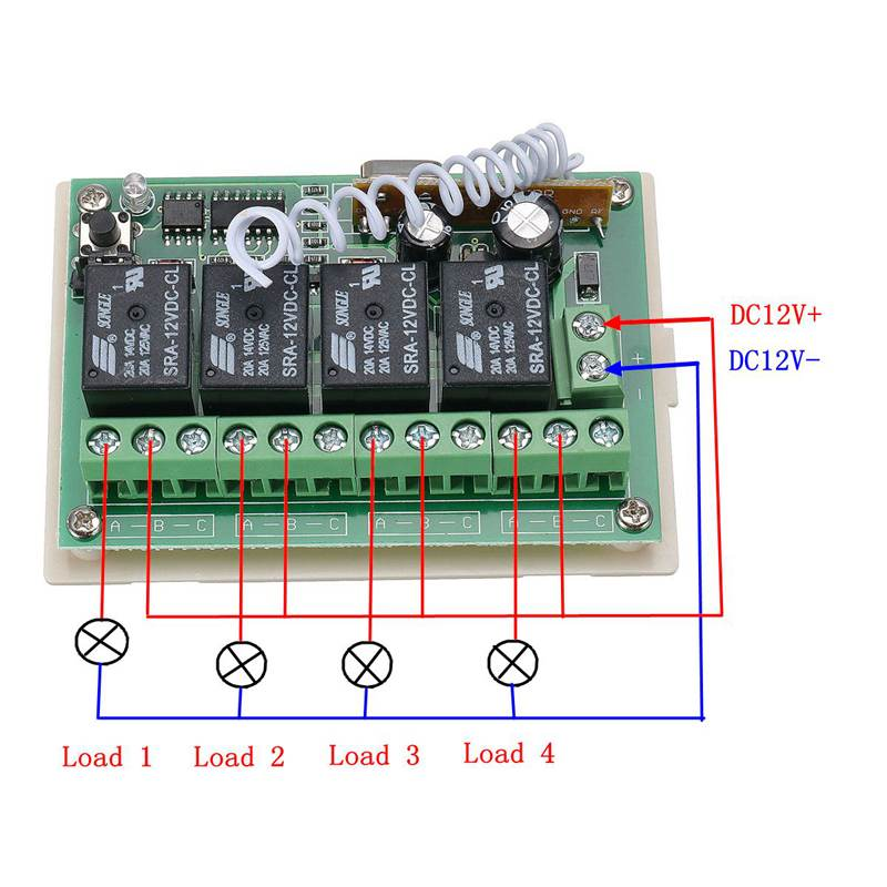 CLAITE 12V 4CH Channel 433Mhz Wireless Remote Control Switch Integrated  Circuit With 2 Transmitter DIY Replace Parts Tool Kits