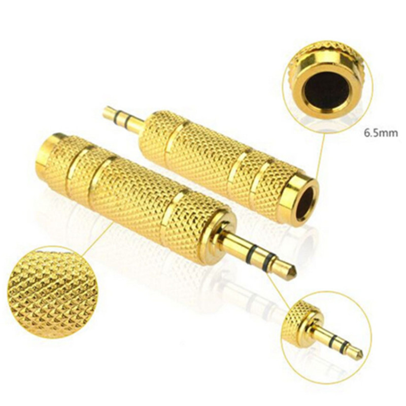 2019 Stereo Jack Audio Adapter Connector 3.5mm To 6.35mm Gold Headphone Jack Plug Audio Adaptor For Mic Mixer Amplifier Speaker