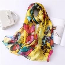 2019 New Women's Silk Scarf Soft Quality Print Scarves Large Shawls and Wraps Long Ladies Pashmina Foulard Hijabs Bandana