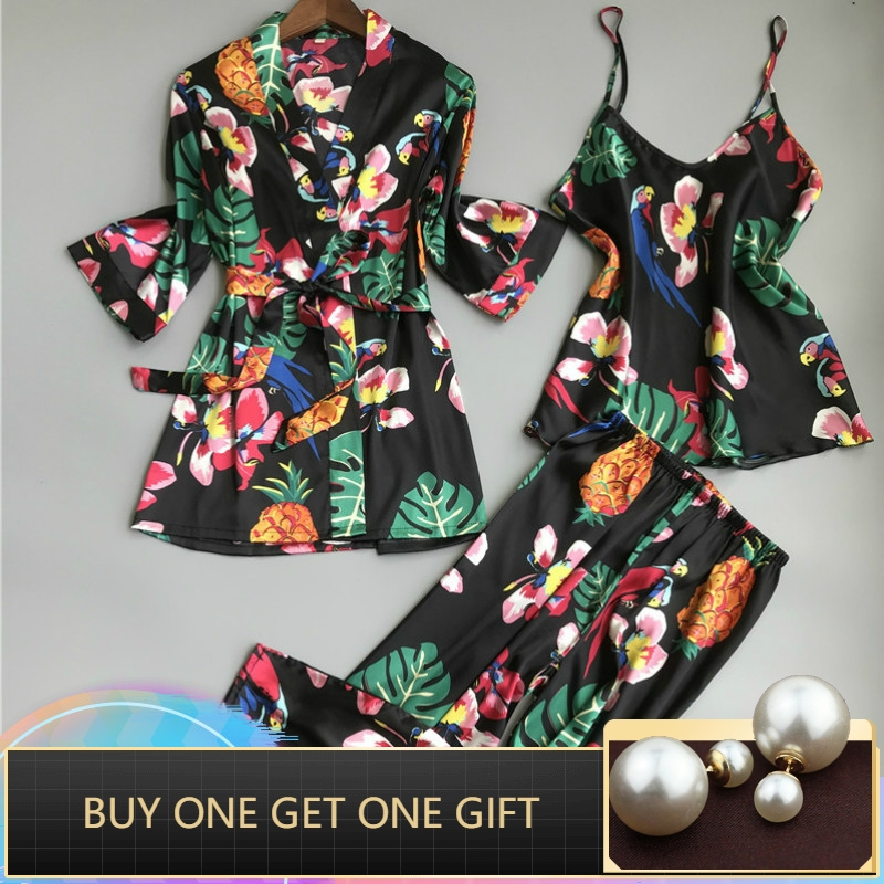 Sleep Lounge Satin Sleepwear Flower Slik Women   Pajamas     Set   Elegant Pyjamas Women Autumn Nightwear 3 Pieces Ladies Home Suit