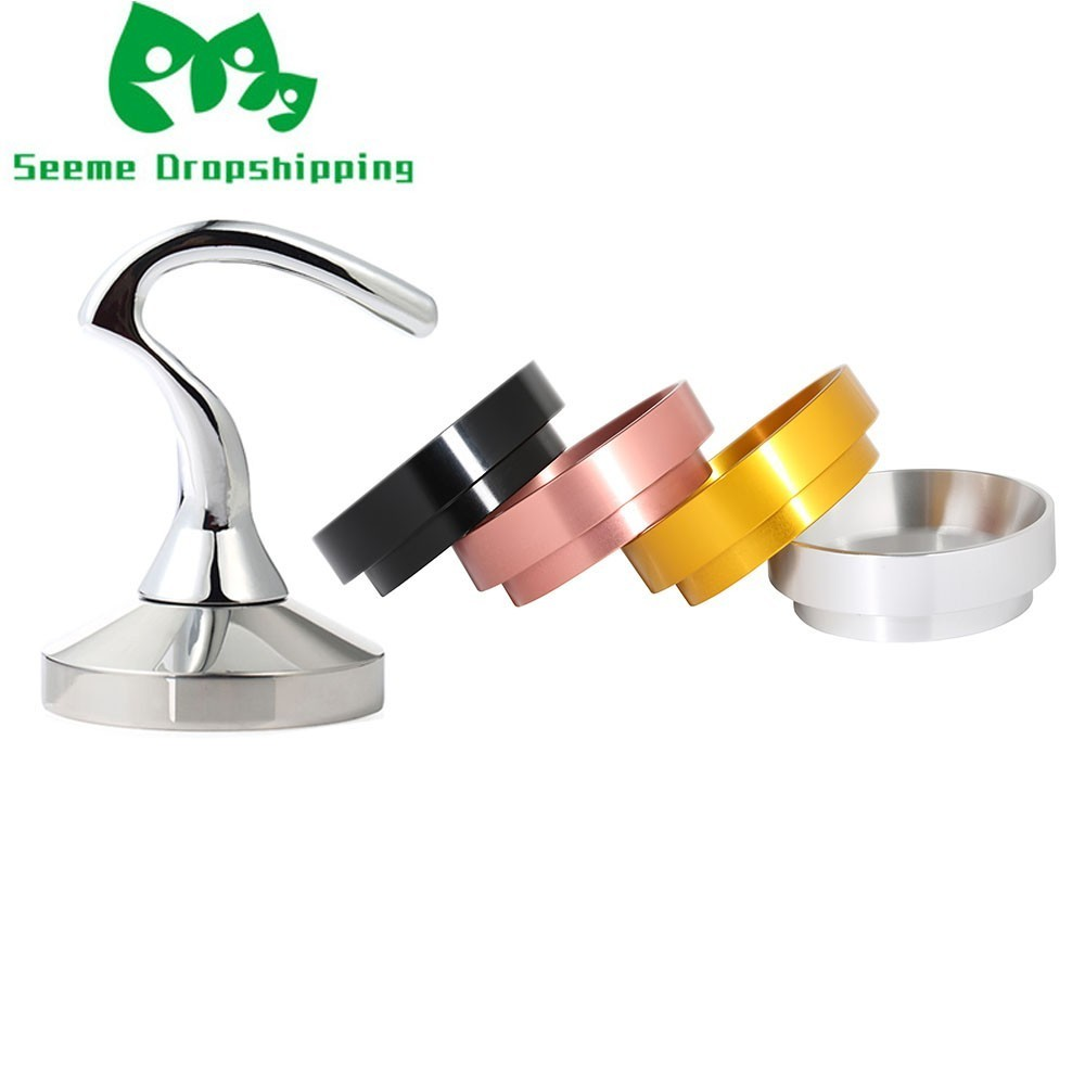 Smart Stainless Steel 58mm Coffee Tamper Pressure Dosing Ring Set Coffee Barista Espresso Flat Tamper Grinder Coffee Maker Tools