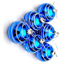 6pcs Christmas Tree Balls Blue Diameter 6cm Striped Color Drawing Decorations Ball Xmas Party Wedding Ornament 3