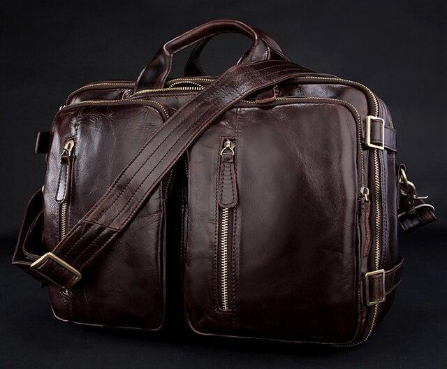 New 2015 Multi-Function Genuine Leather Men's Messenger Bag Leather Shoulder Bag Men Crossbody Bag Sling Tote Weekend Bag