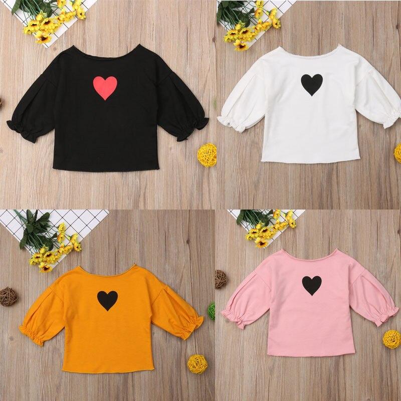 Mädchen Bluse Mode Kinder Kleidung Herz Druck Kräuselte Langarm Shirts Blusen Kinder Mädchen Kleidung Kleinkind Mädchen Kleidung StraßEnpreis