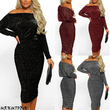 Plus Size XL Bodycon Pencil Dress Women Party Night Ladies Glitter Sequin Evening Midi Dresses Sexy Off Shoulder