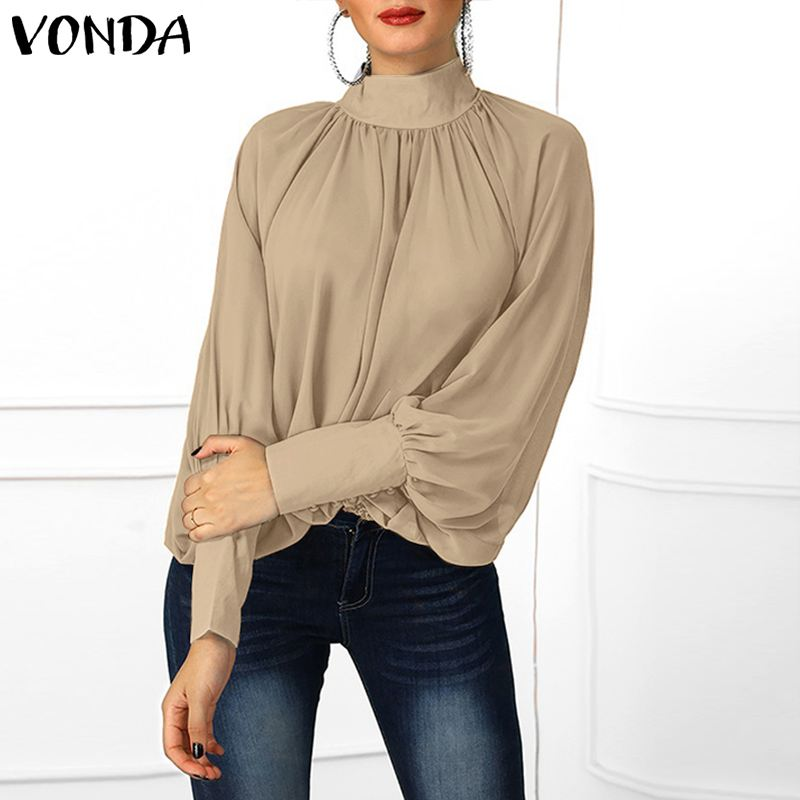 VONDA Sexy Women Blouse Long Lantern Sleeve V Neck Shirt Office Ladies Top 2019 Spring Casual Loose Polyester Blouse Plus Size