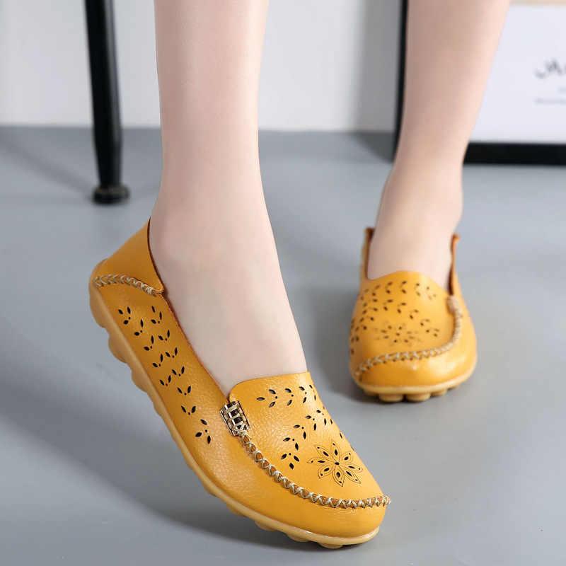 Vrouwen Schoenen Flats Echt Lederen Slip op Schoenen voor Vrouwen Loafers Verpleegkundige Ballerina Kwastje Platform Schoenen Dames Plus Size 43 44