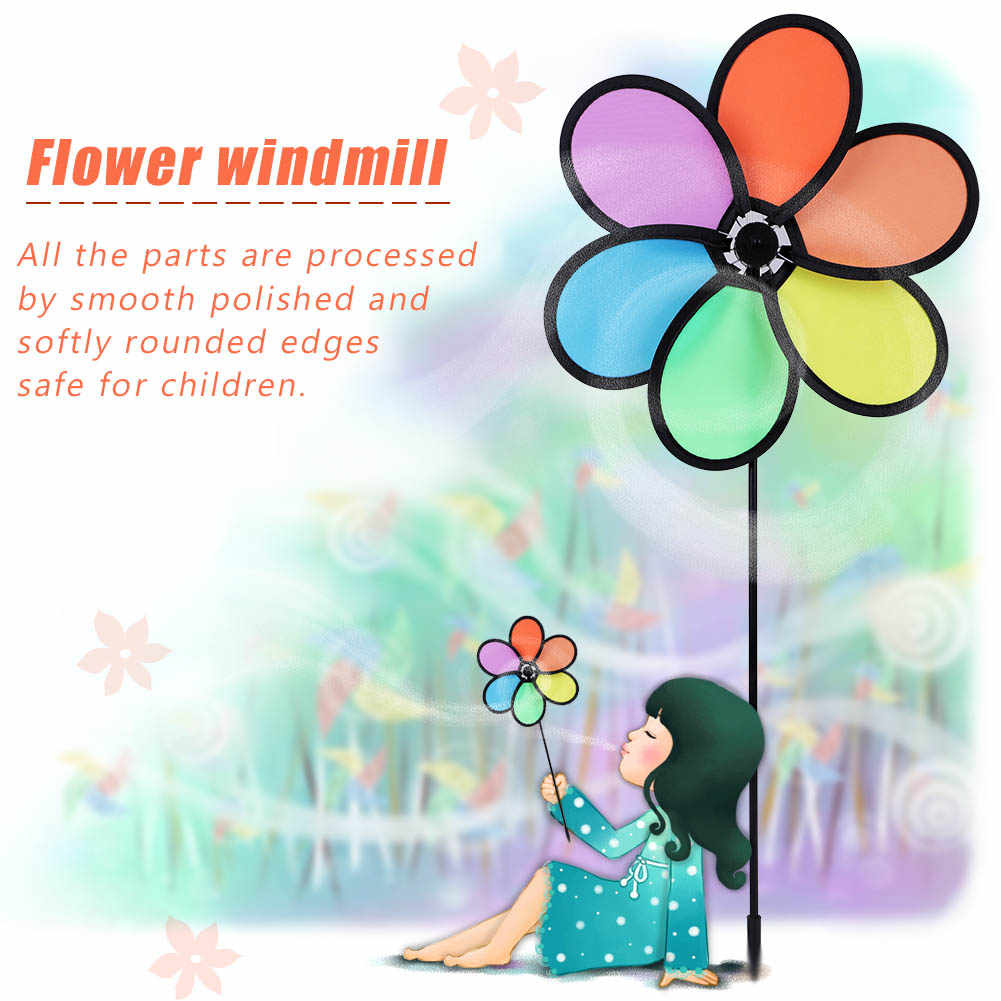 DIY Multicolor Flower Wind Windmill Kids Classic Toys 2019 Windmill Garden Outdoor Decor Outdoor Toys For Kids Children Props