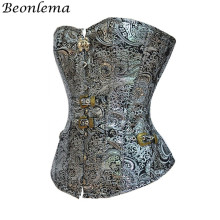 Beonlema Women Overbust Punk Sexy Corset Silver Steampunk Retro Bustiers Korse Body Modeling Corsage Mujer Vintage Top S 2XL