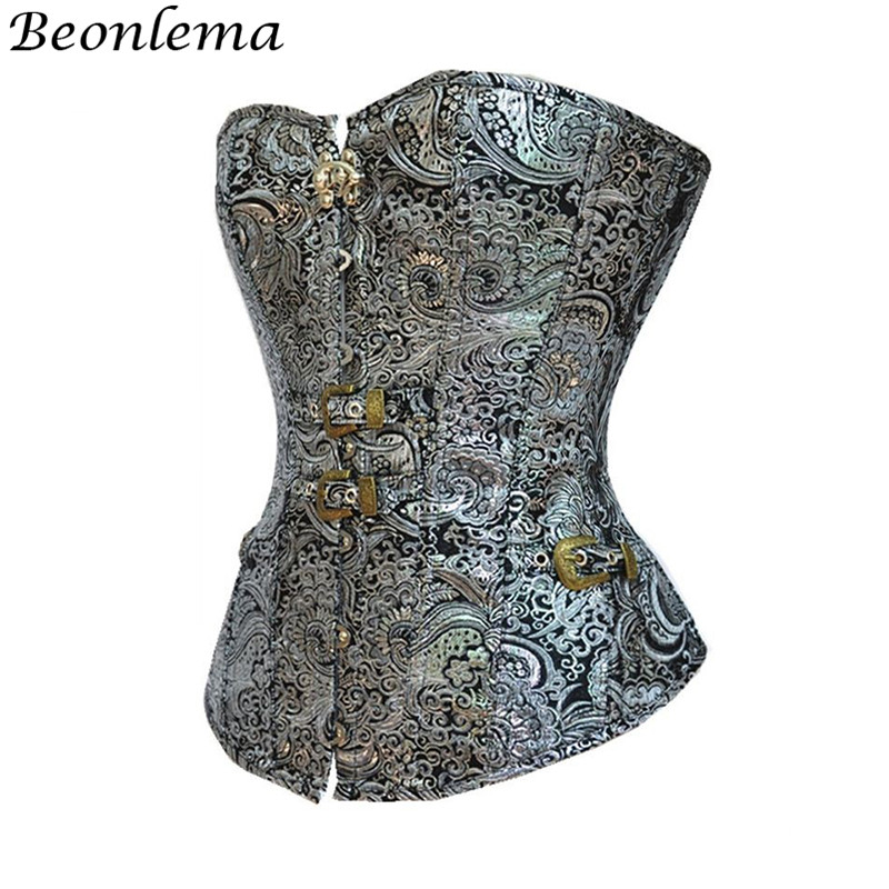 Beonlema Women Overbust Punk Sexy   Corset   Silver Steampunk Retro   Bustiers   Korse Body Modeling Corsage Mujer Vintage Top S-2XL