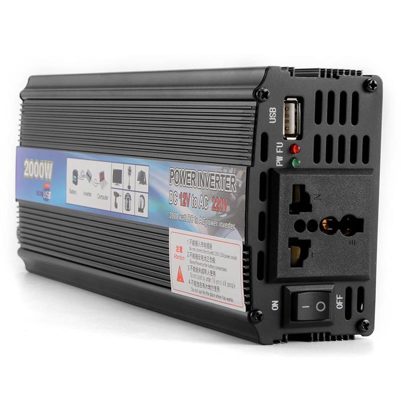 Car Inverter 2000W DC 12V 24V To AC 110 220V Power Inverter Charger Converter Sturdy And