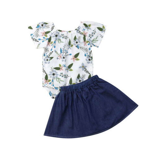 Boutique Girl Clothes Newborn Kids Baby Girls Clothes Floral Top Romper+denim Skirts 2pcs Outfits Relieving Rheumatism Clothing Sets