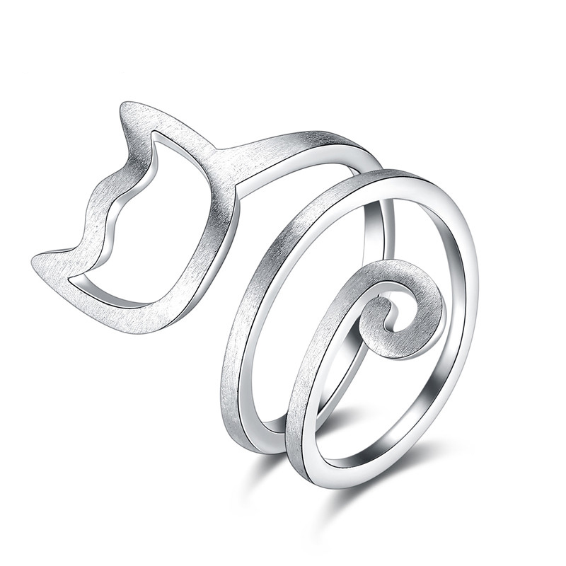 Winding Wire Drawing Cat Rings For Women 1
