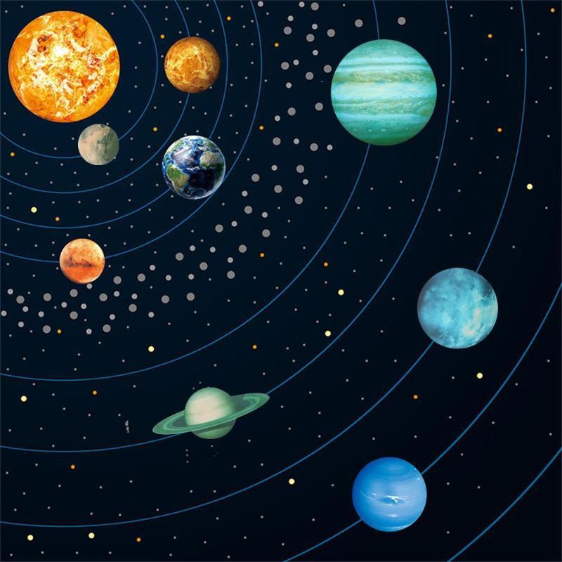 9 unids/set cósmico nueve planetas pegatinas de pared Sistema Solar estrella pegatinas luminosas grande fluorescente pared calcomanía decoración del hogar