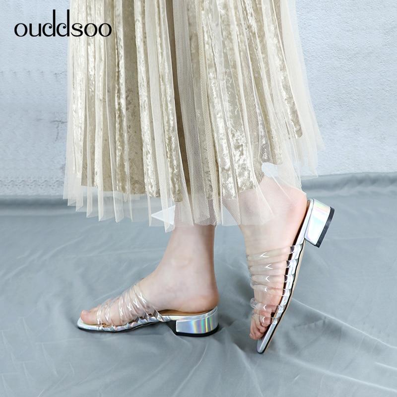 Sandales Cristal Pantoufles Toe De Pour Basses Talons Femme Ods Lujo 2019 D'ete Chaussures Mode 43 Mules White Peep Transparent HqEw0B0p